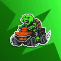 wütende Schildkröte auf ATV vektor