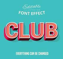 Club Gliederung Eingefügter Text, bearbeitbarer Textstil vektor