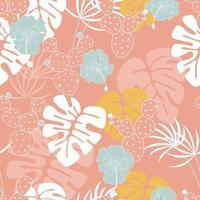 Sömlös tropisk mönster med monstera palmblad, växter, blommor