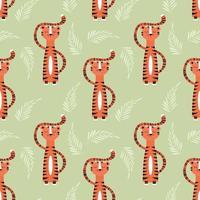 Nahtloses Muster mit niedlichem Dschungelorangentiger