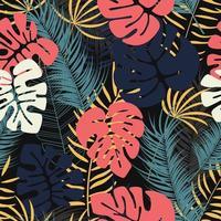 Sommar sömlös tropisk mönster med färgglada monstera palmblad