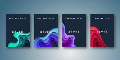Dark Cover-Design im geschichteten Papierschnittstil