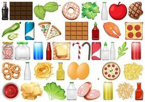 Uppsättning av olika livsmedel vektor