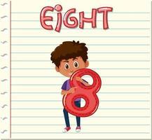 Flashcard-Design mit der Nummer acht
