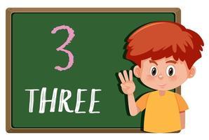En pojke med nummerhandgest vektor