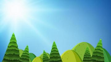 Hintergrunddesign der Landschaft mit Hügeln und Bäumen
