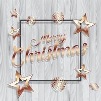 Weihnachtshintergrund mit Goldsternen und Rahmen auf hölzerner Beschaffenheit