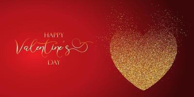 Alla hjärtans dag banner med glitterig hjärta design