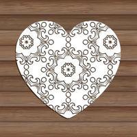 dekorativt utklippshjärta på trätextur 0901