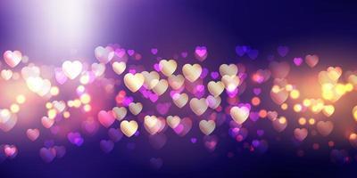 bokeh lyser alla hjärtans dag banner vektor