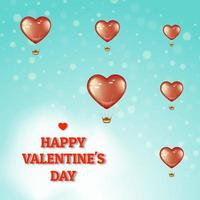 Röd hjärta ballonger alla hjärtans affisch vektor