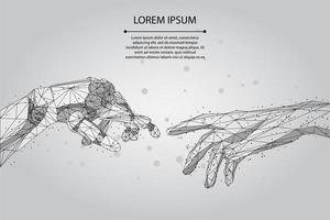 Mesh line and point Låg poly wireframe hands