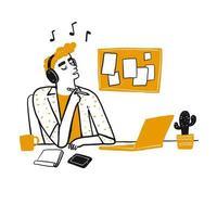 Der junge denkende Mann und hören Musik mit Kopfhörern
