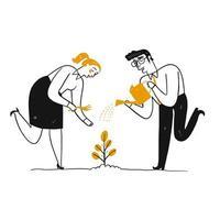 Man och kvinna som bevattnar en växt