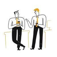 Två affärsmän som pratar och dricker kaffe