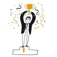 Framgångsrik affärsman som rymmer en trofé