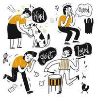 Satz aktive Karikaturleute mit Gefühl unterzeichnet