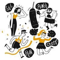 Satz aktive Leute der Karikatur