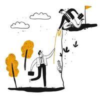 En manlig affärsman hjälper en man att klättra upp en brant klippa