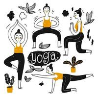 Kvinnor i yogaställningar