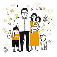 Tecknad familj ritning vektor