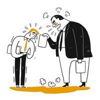 Verärgerter Chef, Manager, beschwerend zum AngestelltenBüroangestellten