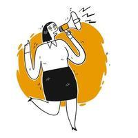 Junge Frau, die durch Lautsprecher schreit