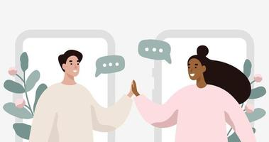 Mann und Frau im Chat, virtuelle Beziehungen. vektor