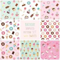 Söt sömlös mönsteruppsättning med olika sötsaker.