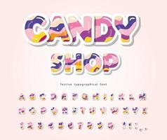 Candy ABC bokstäver och siffror. Glansigt alfabet 3d.