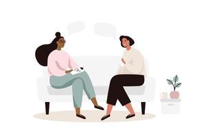Psykoterapisession med kvinnor på soffan