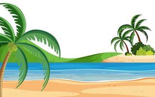 Landskapsbakgrund med stranden och träd