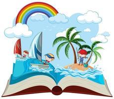 Öppen bok sjöaktivitet vektor