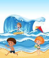 Barn på sommarstranden vektor