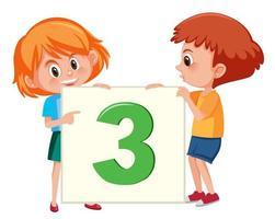 Kinder, die Karte der Nr. Drei halten vektor