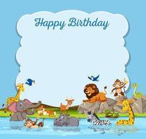 Vilda djur på födelsedag mall vektor