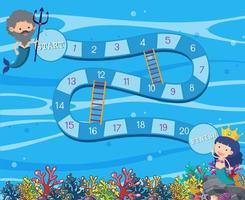 Unterwasser-Brettspiel-Vorlage vektor