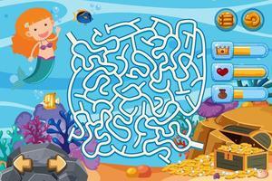 Puzzle-Spiel mit Meerjungfrau und Goldmünzen unter Wasser vektor