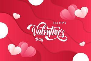 Valentine Banner med flytande bakgrund och hjärtan