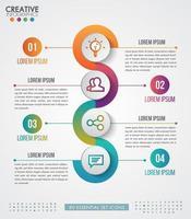 Infographic mallaffär med fyra cirkulära steg