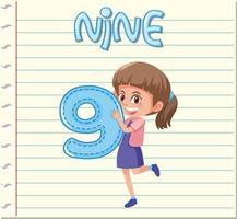Mädchen Holding Nummer neun