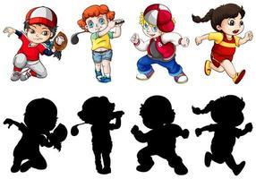 Reihe von aktiven Kindern
