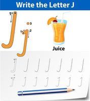 Verfolgen Sie die Buchstabe J-Vorlage vektor