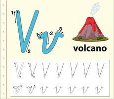 Arbeitsblätter für Buchstaben-V-Tracing-Alphabete