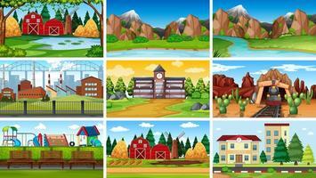 Reihe von verschiedenen Hintergrundszenen vektor
