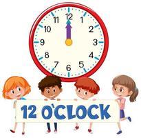 Kinder und Zeit 12 Uhr vektor