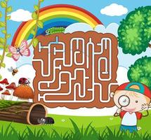Natur-Labyrinth-Puzzle-Spiel-Vorlage vektor