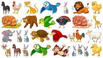 Reihe von wilden Tierfiguren vektor