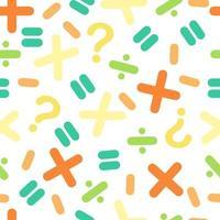 nahtloses buntes mathematisches Symbolmuster auf weißem Hintergrund vektor
