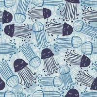 sömlös blå hand rita gelé fisk med prickmönster bakgrund vektor
